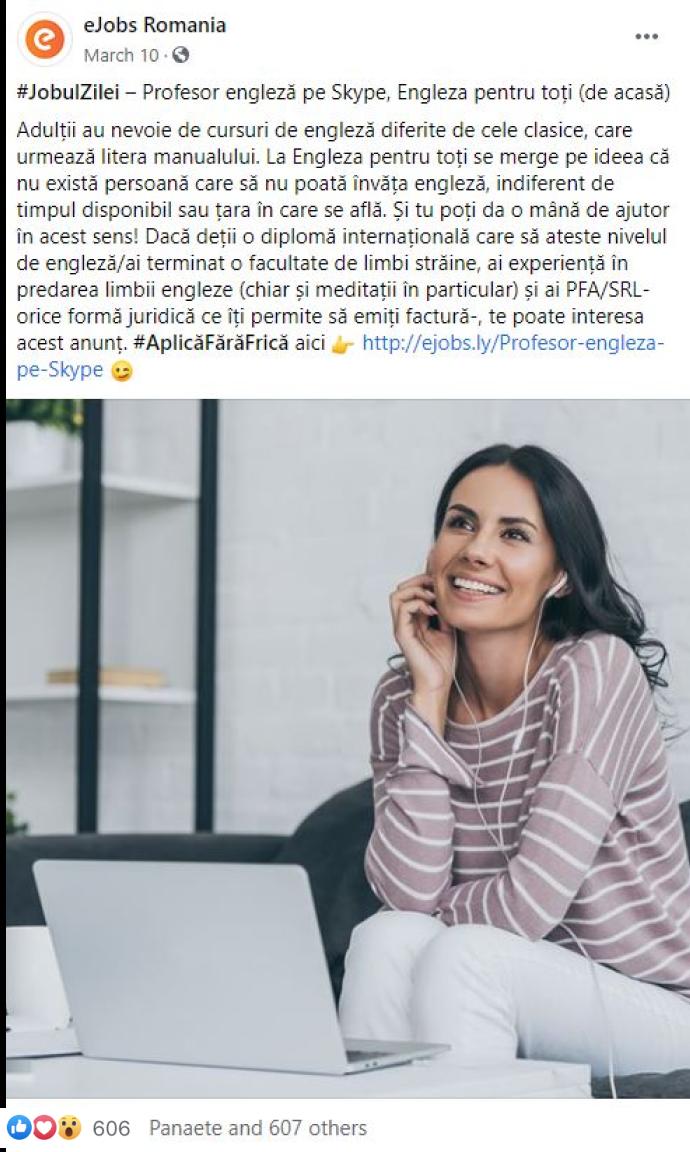Exemplu de promovare în social media